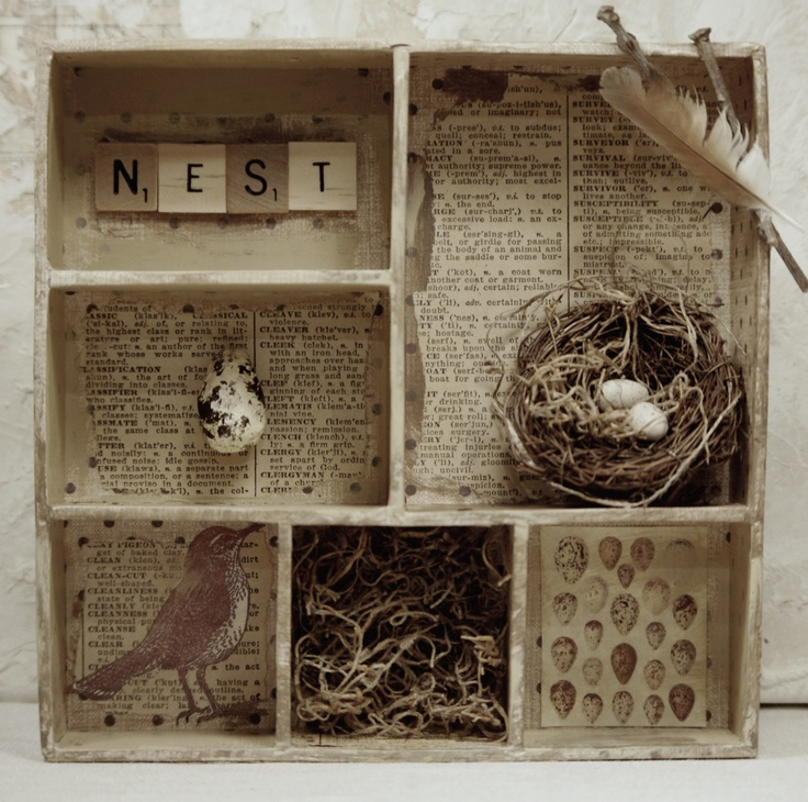 Bird nest assemblage. Cardboard box with dividers painted, papered, and filled with birdie stuff! Scrabble tiles that spell nest, handmade paper mache egg, nest with eggs, and some vintage images. Finished with a couple of twigs and a feather. Measures 8x8x2 inches deep. Via www.mothsandrustshop.com/.