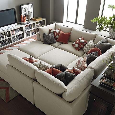Pit Sectional - this would be perfect for movies. It can convert back to a normal sectional when people are over or separate around the room if needed!