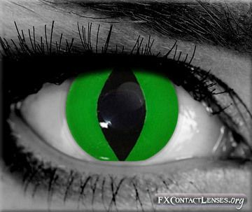 Gothika green cobra-eye contacts - Slither your way into these reptilian style lenses and hisssssss your way into cosplay conventions, anime events, costume parties, body paints, stage acts, or film production.