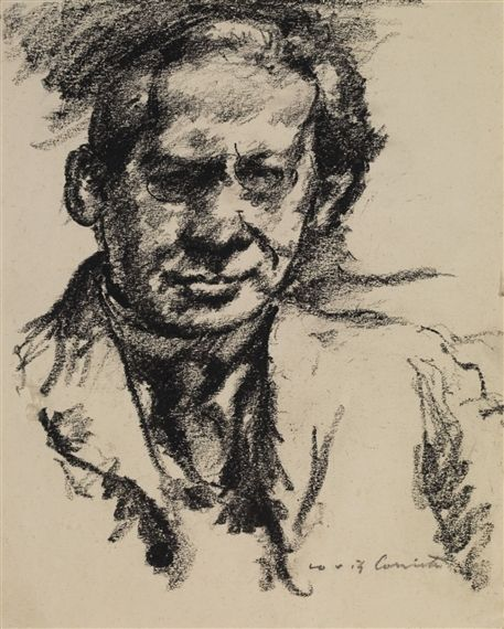 Lovis Corinth - Bildnis Arno Holz; Creation Date: 1922; Medium: black Lithochalk on smooth paper