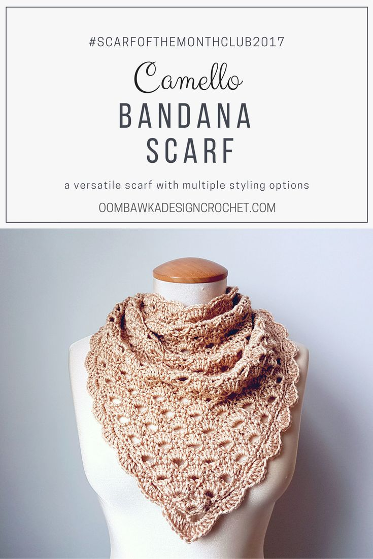 Camello Bandana Scarf - The Versatile Camello can be styled in so many ways. Free Pattern Oombawka Design Crochet