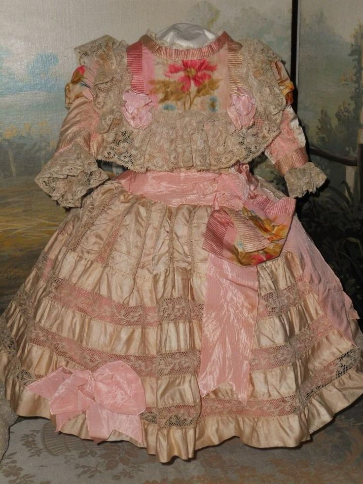 Superb French Bebe Silk Costume with Antique Straw Hat ~~~ from whendreamscometrue on Ruby Lane