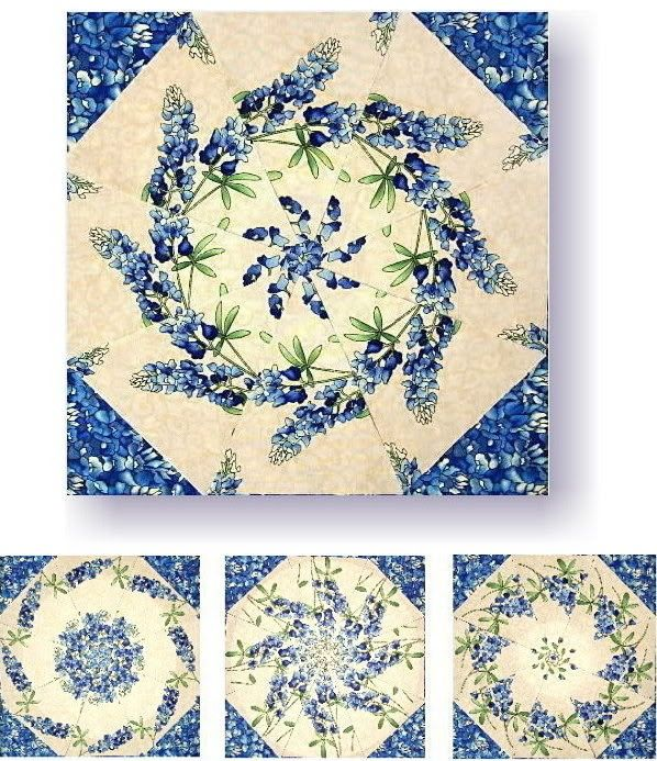 Bluebonnets Kaleidoscope Quilt Kit