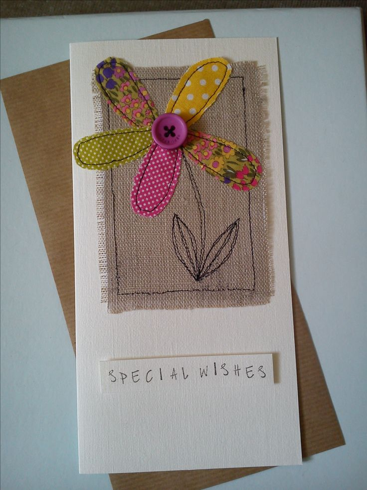 Machine sewn flower birthday card made with Moda fabrics, burlap & a button
