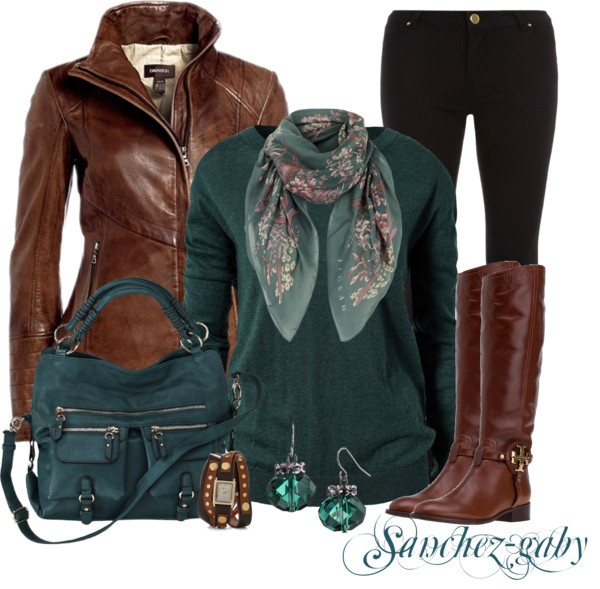 """""""Brown Leather Jacket & Orchid Floral Scarf"""" by sanchez"""