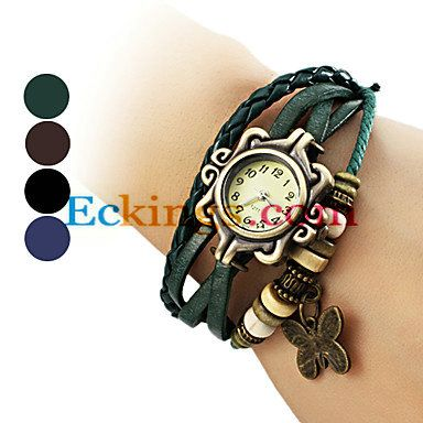 Women's Butterfly Pendant Leather Band Quartz Analog Bracelet Watch (Assorted Colors) : Online Shopping for Watches, Toys & more