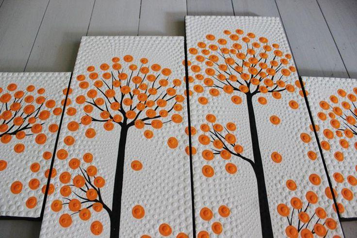 Lukisan Titik ( Ranting Dekoratif Orange )