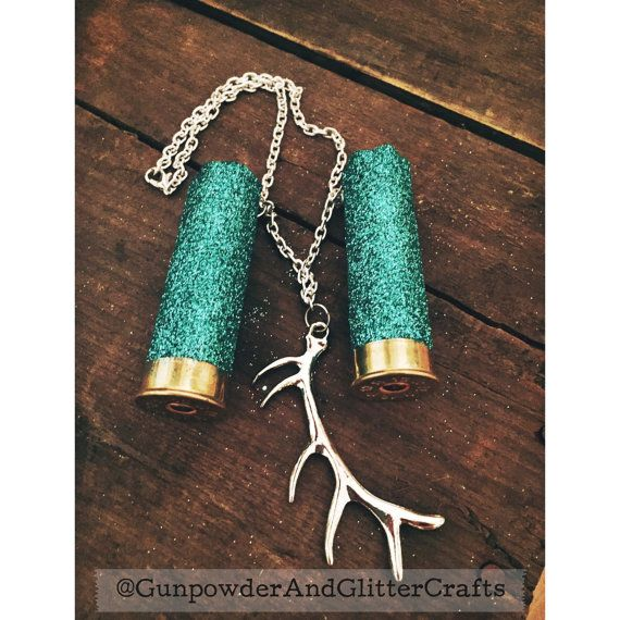 Turquoise Glitter 12 Gauge Shotgun Shell Mirror by AdelynElaines