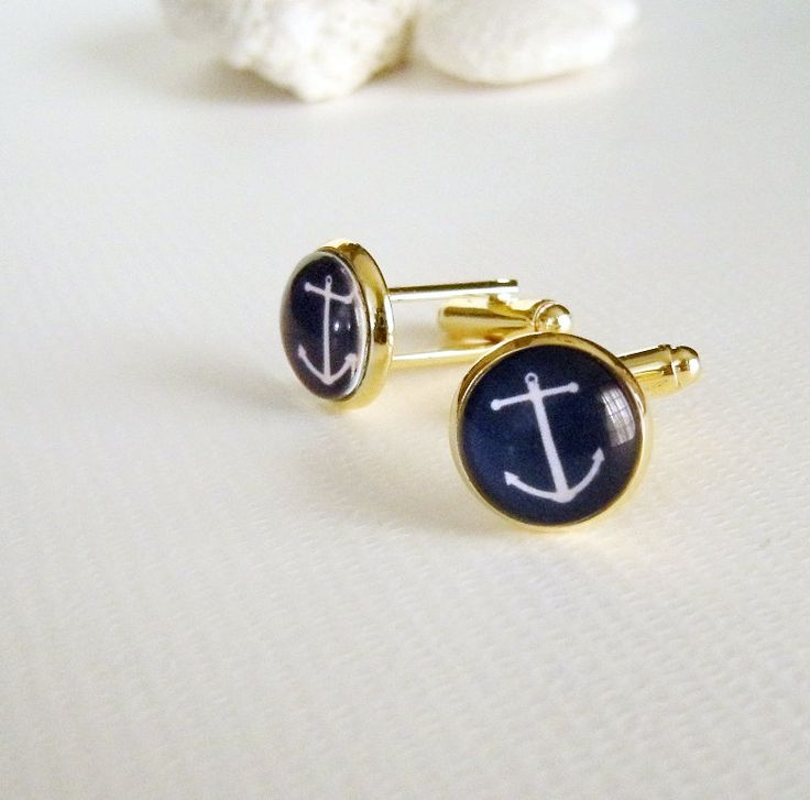 Anchor Cuff links in Navy Blue and Gold - Nautical Beach Wedding - cufflinks for Groom Best Man Graduate or Father's Day. $37.00, via Etsy.