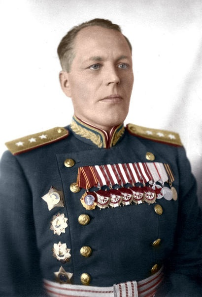 Soviet Colonel GeneralVladimir Zacharovich Romanovsky (1896-1967). During WW2 was a senior commanding general filling billets with shock armies and eventually as deputy Commander of the 4th Ukrainian Front. During the final push for Berlin, he was in command of the 67th and then 19th Armies. Postwar, he became a senior professor at the Frunze Academy (Soviet senior military college) and worked in that capacity until his death.