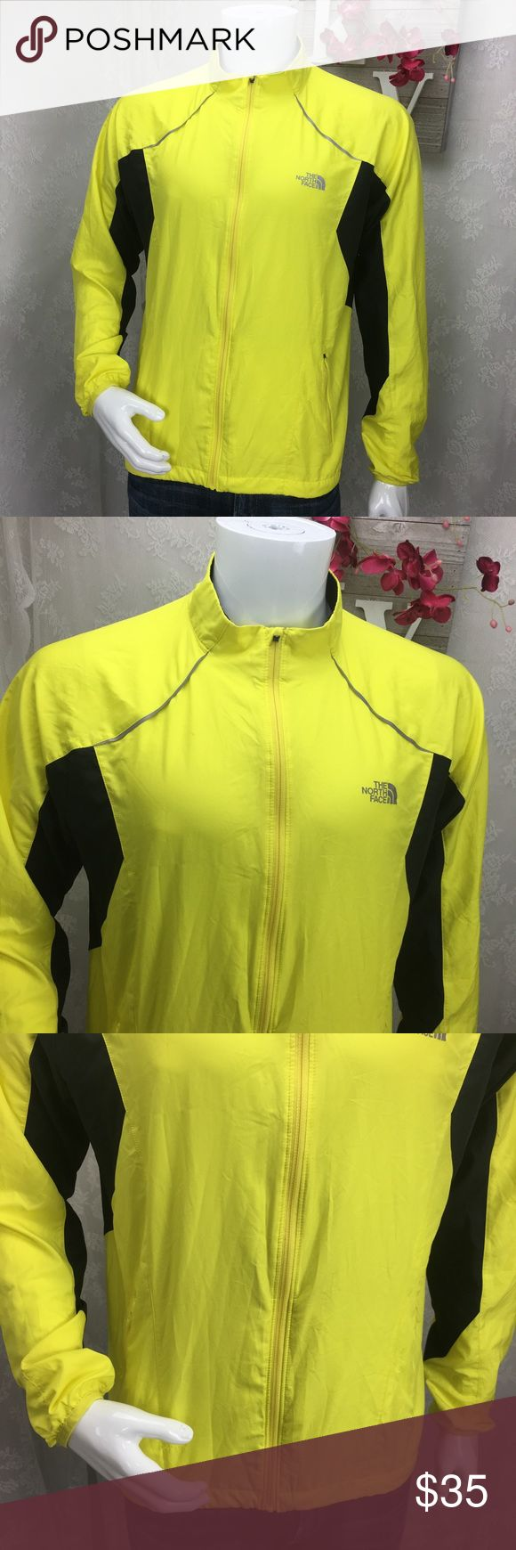 The North Face Mens windbreaker jacket The north face men's ultralight jacket bright yellow breathable long sleeve with pockets in the back one small snag see photo  Laid Flat Chest 23 Length 26 The North Face Jackets & Coats Windbreakers