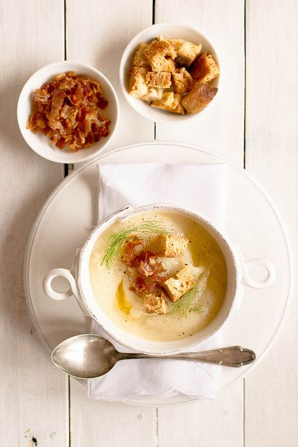 celeriac and potato soup with croutons and cripsy prosciutto bits.