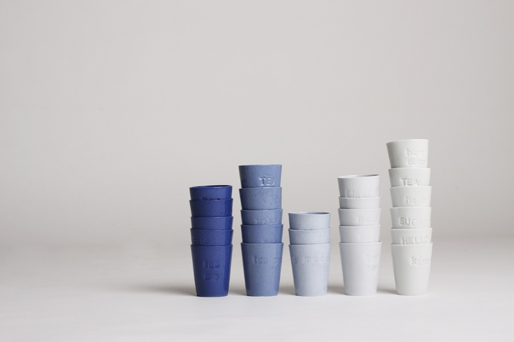 Cups made of pigmented porcelain, design by Tereza Severynova for najs.cz