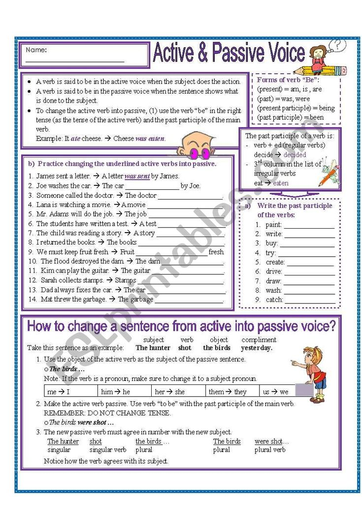 This worksheets includes explanation of the active and ...