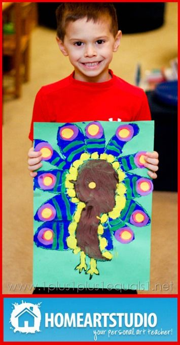 Home Art Studio ~ Peacock from @{1plus1plus1} Carisa1St Grade