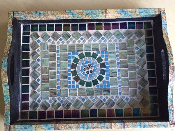 "Handmade Mosaic Wood Serving Tray in Blues and Greens, Decoupaged with Ancient Maps, Glass Tiles and Millefiori Beads, 15""x11""x2"""