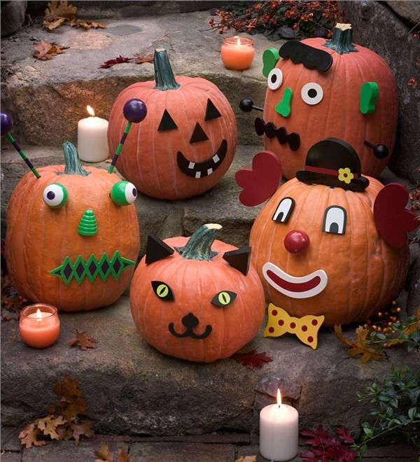 Colorful Wooden Pumpkin Decorating Kit