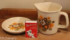 Orange Floral Jug Saucer Daisy Butter Dish Set Aust Stoneware Johnson Vintage