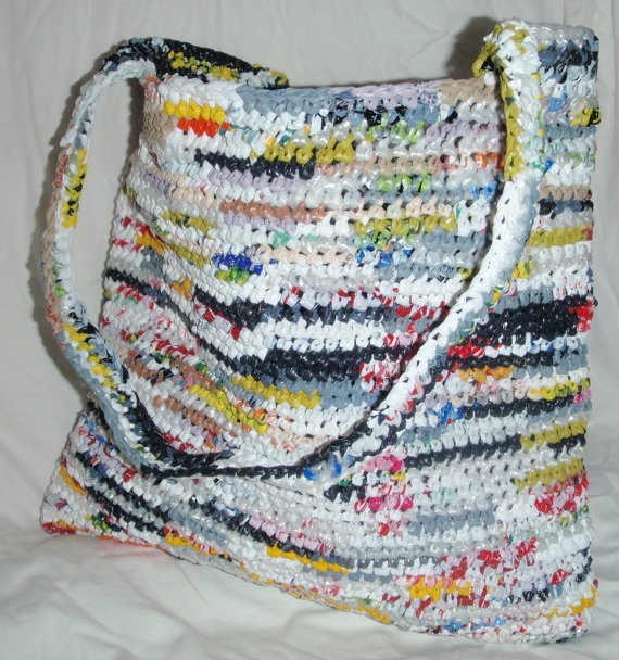 Large Colourful Recycled Plastic Totebag by SmallGreyCat on Etsy, $25.00