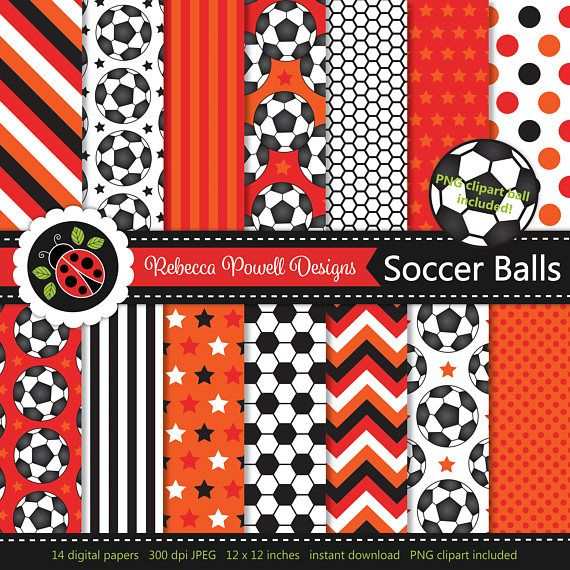 Soccer/ football digital paper set which includes a clipart PNG soccer ball! Great for crafts, scrapbooking, commercial and digital use. Available from Etsy & Teachers Pay Teachers #etsy #etsyseller #etsyshop #teacherspayteachers #soccer #football #sports #supplies #commercialuse #pattern #digitalpaperset #printablepapers #papers #crafts #scrapbooking #soccerballs #footballs #digitaldownload #digitalbackgrounds #red #orange #clipart #resources #instantdownload #jpeg #png #stars #spots…
