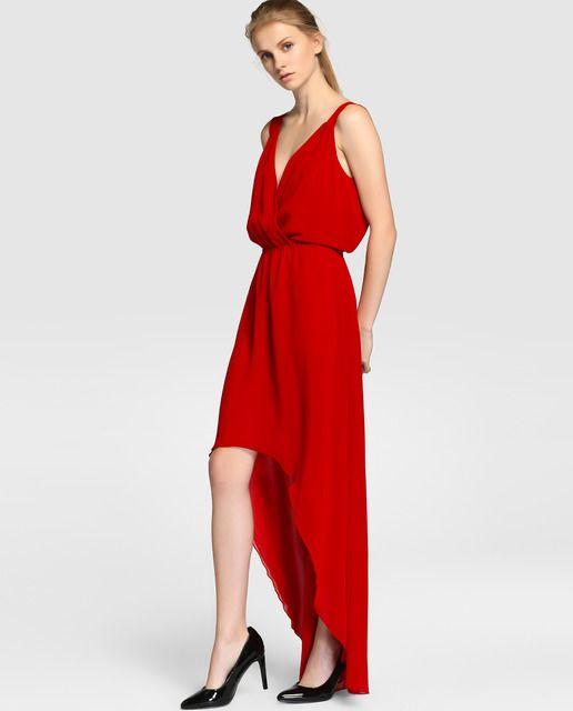 Vestido de mujer Green Coast rojo con falda asimétrica