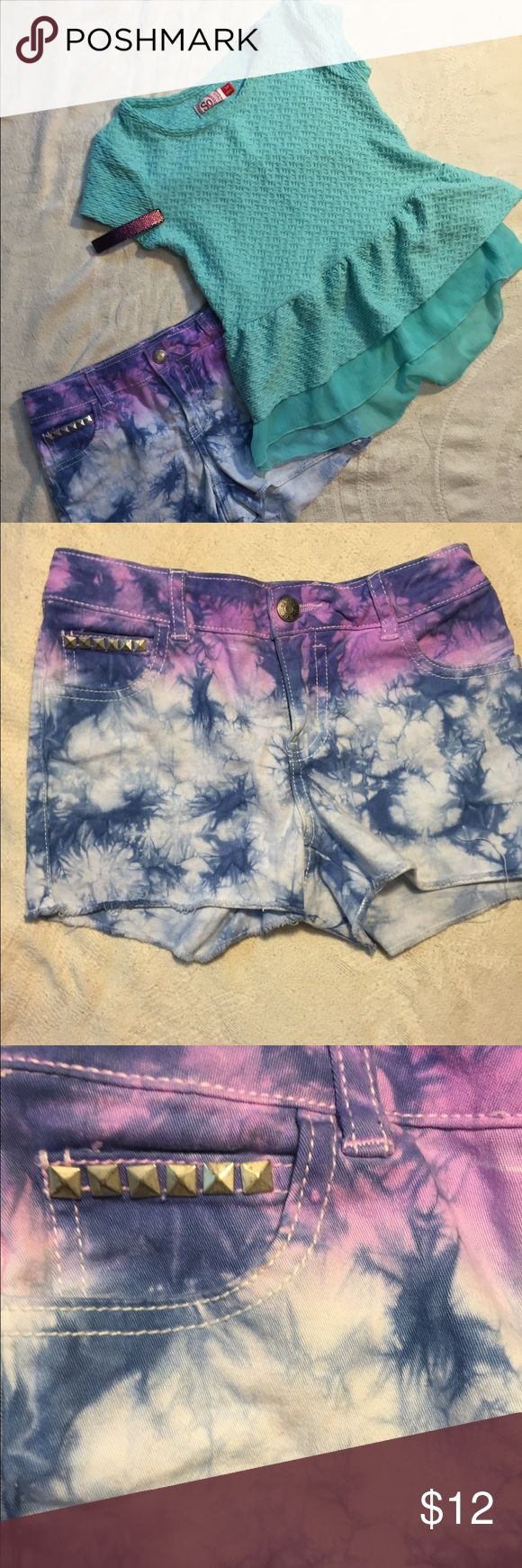 Back to school shorts/top bundle Super cute and barely worn Circo shorts and tunic style top ( I don't think my daughter ever wore this!). Cool studs on ombre acid wash shorts. Very sweet chiffon ruffled top. Will separate. Circo Shirts & Tops