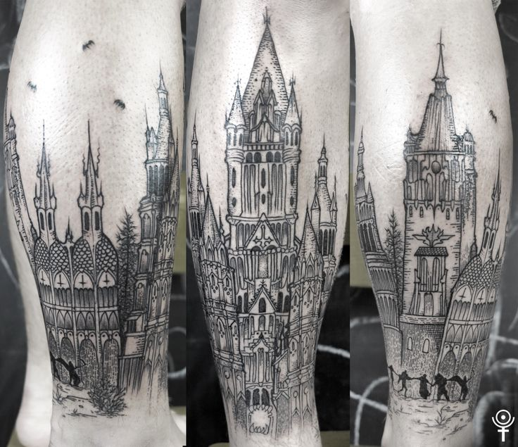 Dracula's castle a bit rethinked. Made by Gabor Zolyomi at Fatum Tattoo, Budapest. Instagram: zolyomi_