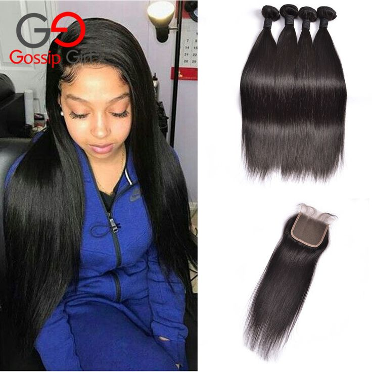 Lace Closure With Bundles Virgin Brazilian Straight Hair With Closure 4 Bundles With Closure Top Human Hair Bundles With Closure