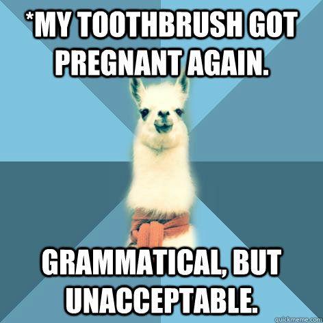 When grammar fails. Linguist llama!