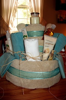Bridal Shower Towel Cake.... Love this idea for a house warming gift too.