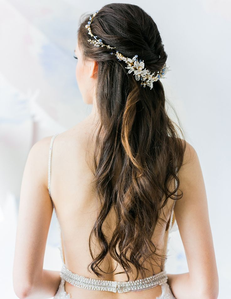 Half-up, half-down natural waves bridal hairdo with delicate halo headpiece and sexy couture wedding gown by Galia Lahav // 7th Heaven: Bridal Veil Trends and Inspiration for 2016 - 2017
