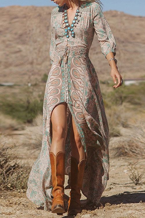 Full Floral Print Elastic Waist Front Slit Maxi Dress