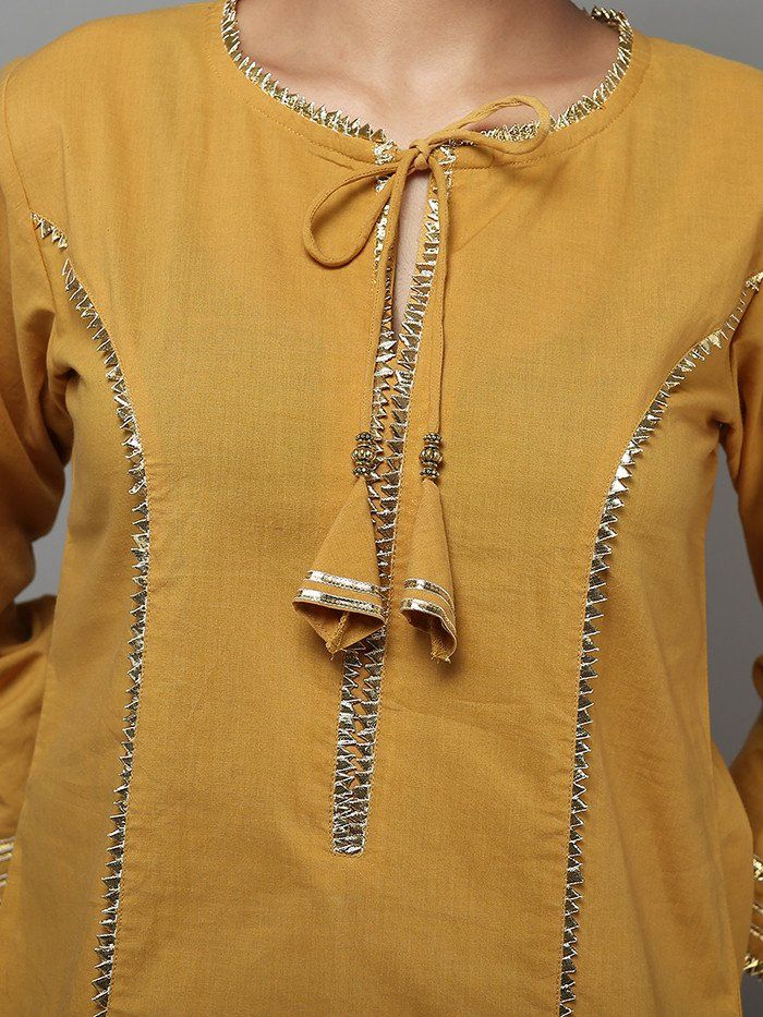Yellow Cotton Gota kurta