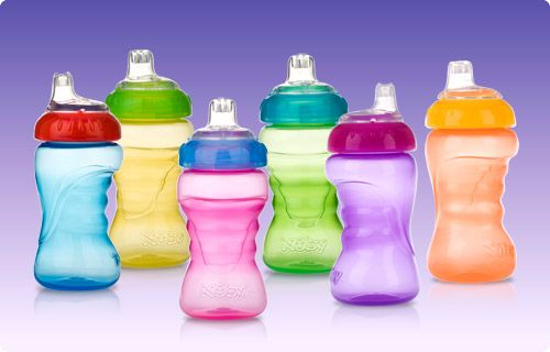 Nuby Sippy cups - you can find them in many places - are great. Jessica had trouble with too fast a flow and hard spouts, so these were perfect. They have a soft spout and slow flow.