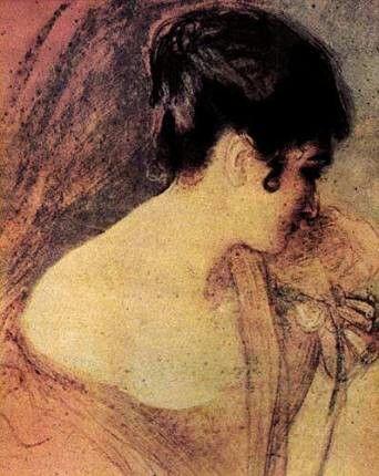 Mihri Müşfik: Genç Kadın portresi. Pastel. 38×28 cm. Istanbul resim ve heykel muzesi