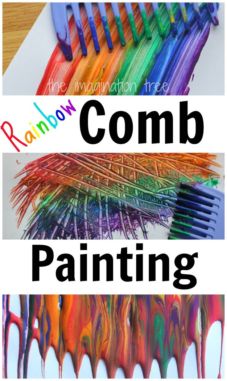 Painting with rainbow colours and combs - for more ideas visit http://playresource.org/ideas-inspiration/