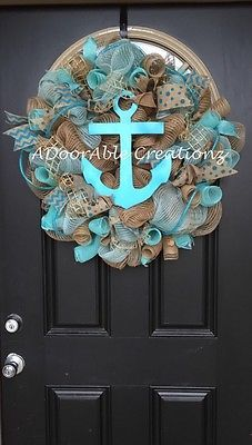 Burlap, Turquoise Aqua Anchor  Deco Mesh Wreath, Beach Wreath, Summer Wreath