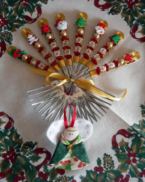 Conjunto Talheres Bordado Natal
