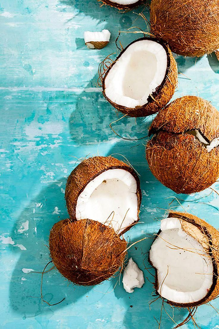 Cocunuts on powder blue wood ~ love this pin #coconut #PowderBlue