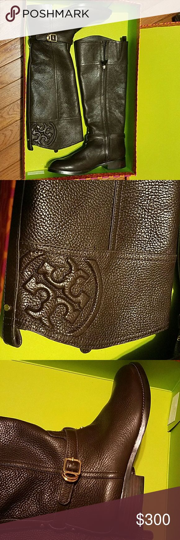 Tory Burch boots Brand New with Tags. Authentic.  Leather upper ,Fabric lining. Got this as gift but calf is too big for me. My calf size is just 12.5 so, yeah it is big for me. Market price is $495+tax. I searched online and people are selling used Marlene boots for 295 on Tradrsy and 275 here on Posh. Tory Burch Shoes
