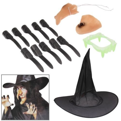 amazones gadgets ER 5 in 1 Witch Set for Costume Ball Halloween Party (Nose + Hat + Chin + Teeth: Bid: 8,47€ Buynow Price 8,47€ Remaining…
