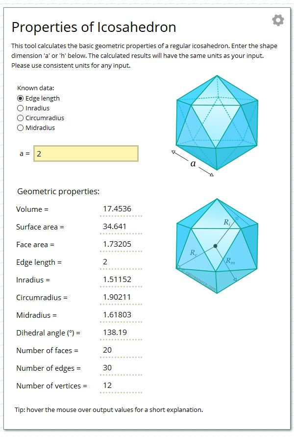Calculate the geometric properties of a regular icosahedron.