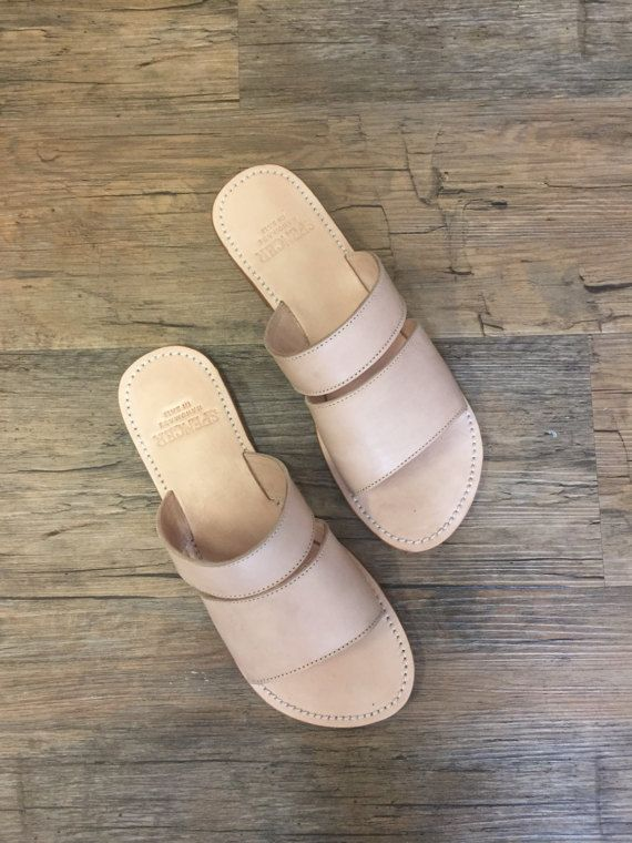 DAKOTA Natural SLIDE   Womens Leather Sandal / Womens Shoes /