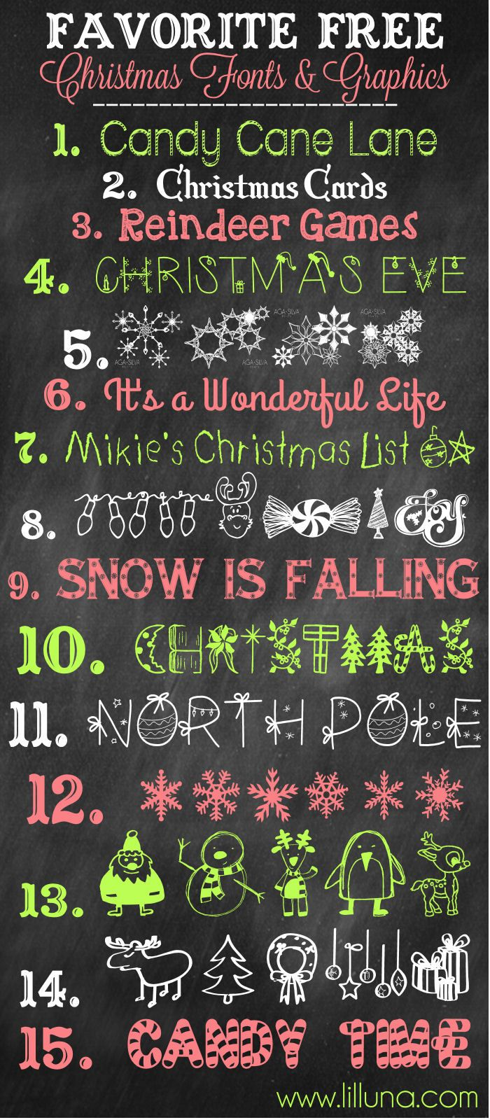 Favorite Free Christmas Fonts and Graphics to download and use! { lilluna.com }