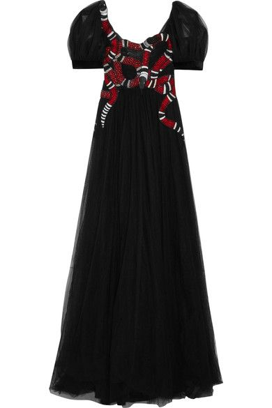 Gucci - Embellished Embroidered Tulle Gown - Black - IT42