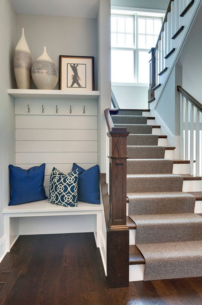 Small Foyer Built in Bench. Small Foyer Built in Bench Design. Small Foyer Built in Bench Shiplap Wall hooks and Shelf. Smal lFoyer Built in Bench #SmallFoyer #BuiltinBench