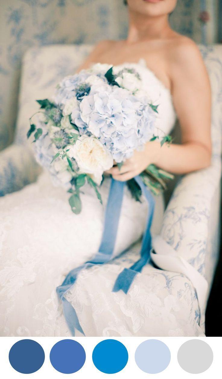 Blue bridal bouquet, Spring 2016 wedding colors