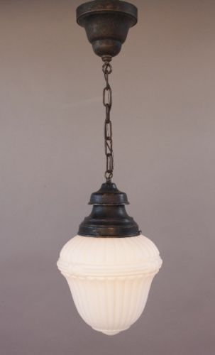 1920s-Milk-Glass-Pendant-Classic-Design-School-House-Light-Lamp-Lantern-8464 US550....