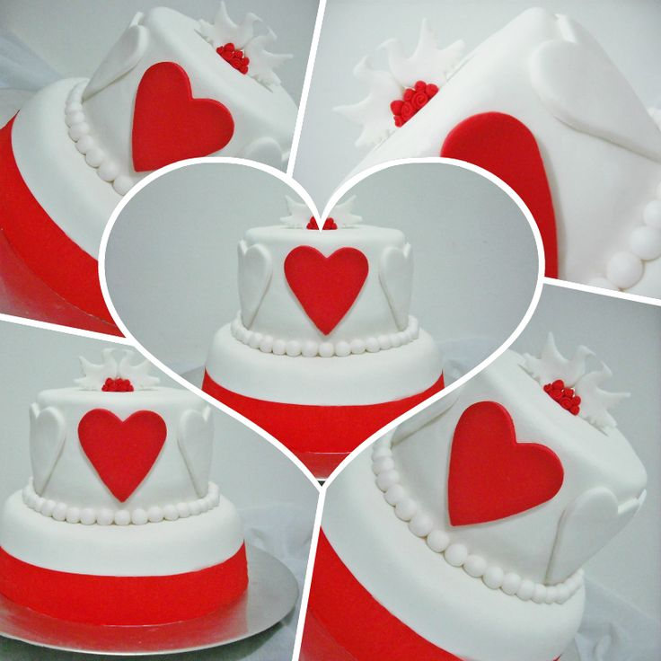 Birds & Red Heart, wedding cake