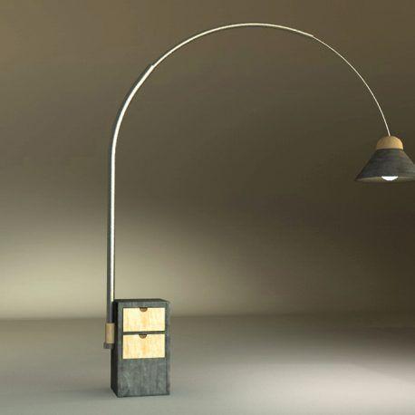 Esta pieza es de gran calidad y diseño, combina una cajonera ideal para guardar objetos y una lámpara que va a iluminar los espacios. Por sus dimensiones amplias, esta lámpara dará a tus espacios una iluminación puntual la cual se puede mover en un ángulo de 360ª Esta pieza fue pensada para ser funcional y a su vez dar estilo a los espacios a través de la luz y su imponente tamaño. Esta lampara esta inspirada en la propuesta de Achille y Pier Giacomo Castiglione con su lampara ARCO de 1962.